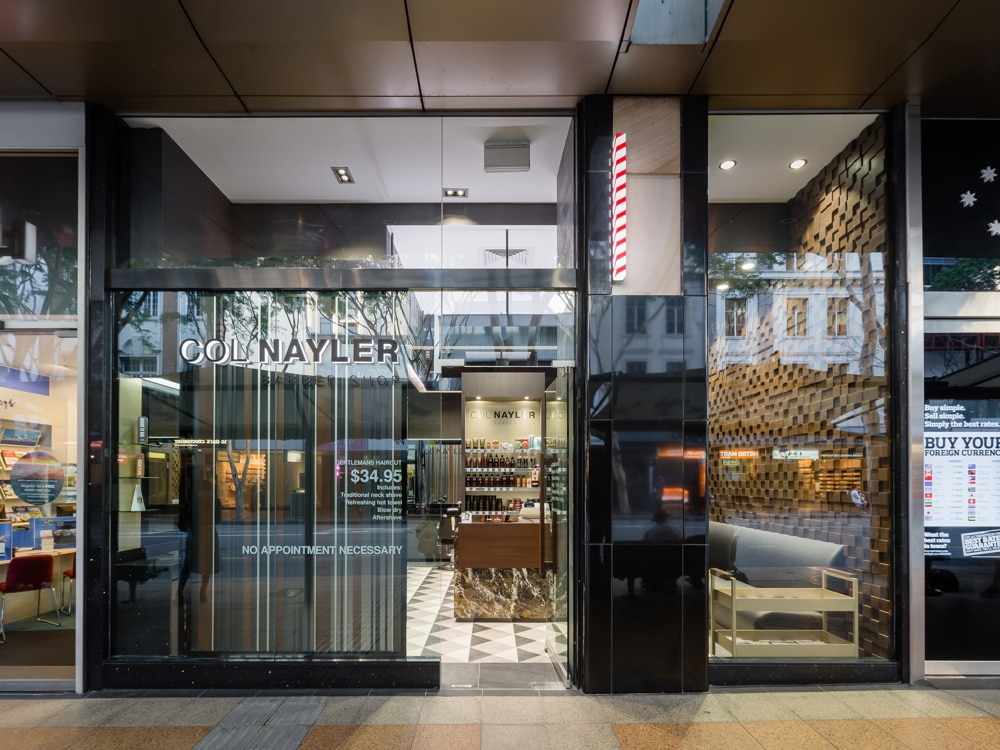 Col Nayler Queens Plaza Barber Shop Brisbane. Market leader in men's hairdressing since the 1950s and an icon in the industry.