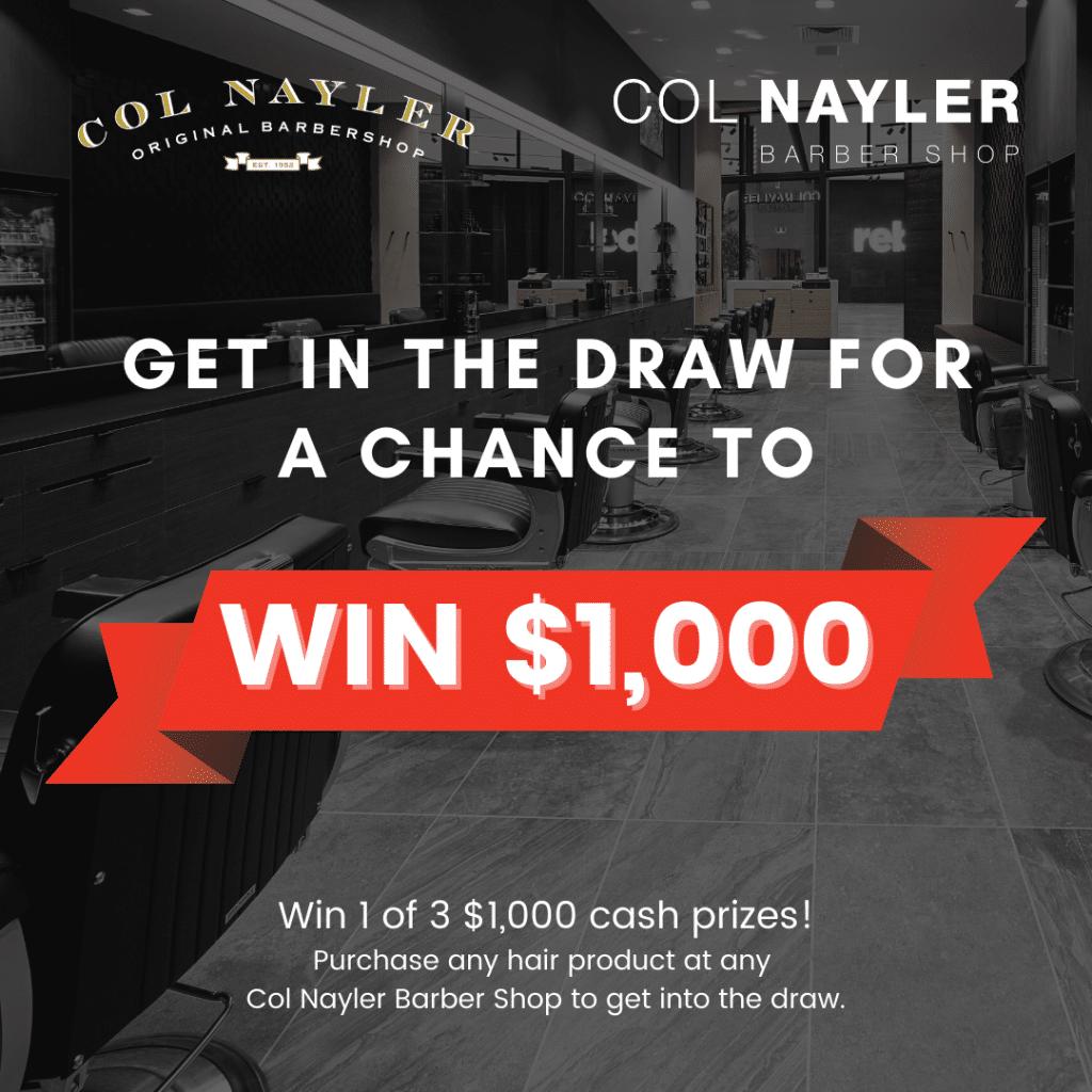 Col Nayler $1,000 Cash Giveaway